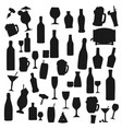 drinks black silhouettes beverages set vector image