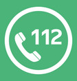 emergency call number 112 flat design icon vector image