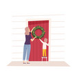 family making preparations for new year vector image