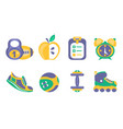 fitness and sport icons set healthy lifestyle vector image vector image