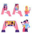 flat cheerful people making selfie together vector image