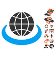 global network icon with love bonus vector image