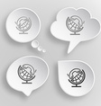 Globe and handset White flat buttons on gray vector image vector image