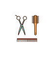 hairdresser tools - scissors comb brush vector image vector image