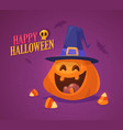 halloween pumpkin with heat isolated on white vector image vector image