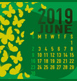 june 2019 calendar template with abstract vector image