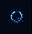 lightning realistic letter q bright gloving logo vector image vector image