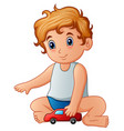little boy playing toy car vector image vector image