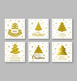 merry christmas gold greeting card with lettering vector image