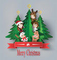 merry christmas greeting card with children vector image vector image