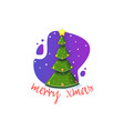merry xmas festive banner christmas tree on a vector image vector image