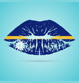nauru flag lipstick on the lips isolated on a vector image vector image