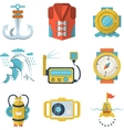 Nautical flat color design icons vector image