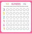numbers for kids worksheet for kindergarten and vector image vector image