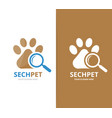 paw and loupe logo combination pet and vector image vector image