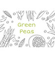 Pea hand drawn frame isolated sketch of