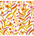pink yellow and orange floral pattern vector image vector image