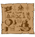 pirate symbols and other elements on map vector image vector image