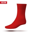 Realistic layout of red sock A simple example vector image vector image