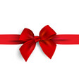 realistic red bow with ribbon isolated on white vector image vector image