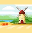 retro windmill on field old brick vector image vector image