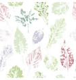 seamless pattern of hand-printed spring leaves vector image