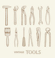 set industrial tools vector image vector image