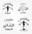set marathon logotypes long distance running vector image