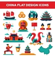 Set of flat design China travel icons vector image