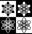 snowflake symbols icons simple black white set 7 vector image vector image