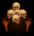 Stack of human skull with human hand vector image vector image