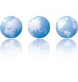 three globe world views vector image vector image