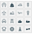 transport icons set with motorboat cargo boat vector image