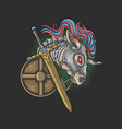 unicorn shield and sword knight vector image vector image