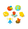 universal icons in isometric cartoon and vector image