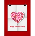 Valentine love background with a white sheet of vector image vector image