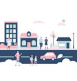 winter city - flat design style colorful vector image vector image