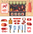 Food in the butcher shop vector image