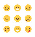 yellow cartoon face set emoji people different vector image