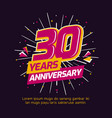 30 years anniversary logo badge colorful birthday vector image
