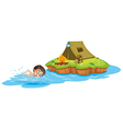 A boy swimming going to the camping tent vector image vector image