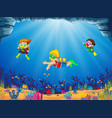 a group of children are diving with their friend vector image vector image