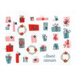 advent calendar template collection vector image vector image