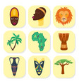 africa icons jungle tribal and ancient vector image vector image
