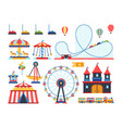 amusement park attractions train ferris wheel vector image vector image
