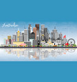 australia city skyline with gray buildings blue vector image