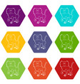 baboon icons set 9 vector image vector image