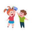 bad behavior brother and sister quarrel girl vector image