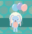 beautiful blue rabbit with party balloons flowers vector image