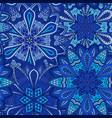 Blue flower pattern boho background